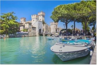 Poster Medieval castle Sirmione on lake Lago di Garda