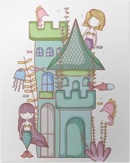 Poster Meerjungfrau auf niedlichem Cartoon des Schlosses