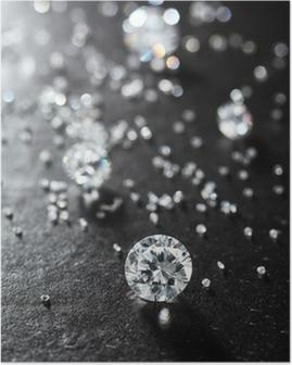 Poster Mettendo diamanti sulla superficie del primo piano di pietra.