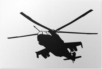 Poster Mi-24 (Hind) elicottero silhouette