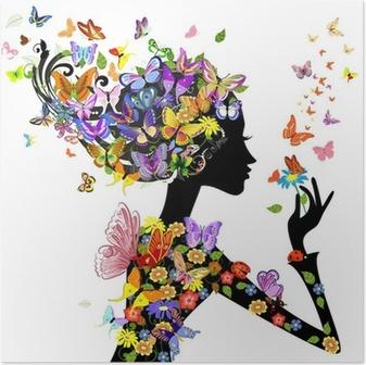 Poster Moda fiori ragazza con le farfalle