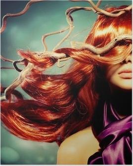 Poster Modella Donna ritratto con lunghi ricci capelli rossi