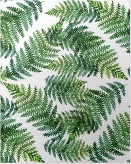 Poster Modello astratto dell'acquerello tropicale con foglie di felce