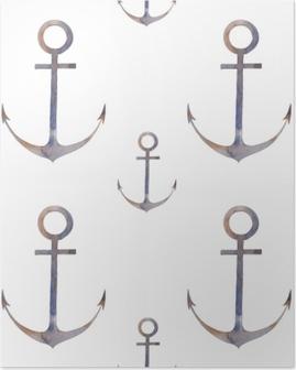 Poster Modello senza cuciture di ancoraggio nautico. dipinto a mano ripetendo design texture con elemento di mare su sfondo bianco. illustrazione ad acquerello