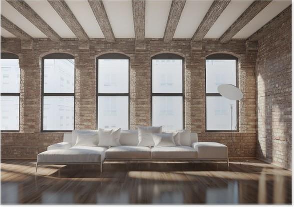 Poster Moderne stilvolle Loft Interieur, mit Ziegelwänden, weißen ...