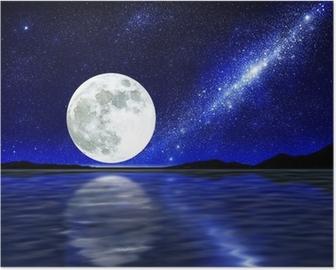 Poster Mond über Wasser