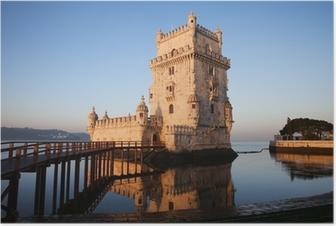Poster Morgen am Turm von Belem in Lissabon