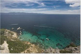 Poster Motoscafo vela nel Golfo di Cagliari, Sardegna