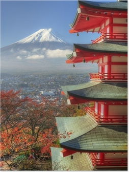 Poster Mt. Fuji und Autumn Leaves in Arakura Sengen Schrein in Japan