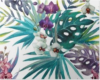 Poster Muster mit Hibiskus- und Orchideenblättern, Aquarell
