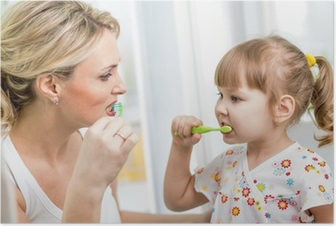 Poster Vater und Kind Sohn Zähneputzen im Badezimmer • Pixers® - Wir ...