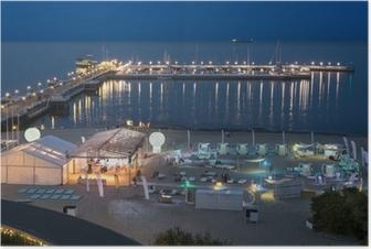 Poster Nacht Blick auf den Pier in Sopot, Polen.