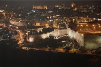 Poster Nacht in Jerusalem Altstadt, Tempelberg mit der Al-Aqsa-Moschee, v