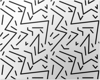 Poster Nahtlose geometrische Vintage-Muster im Retro-Stil der 80er Jahre, memphis. Ideal für Stoffdesign, Papierdruck und Website-Kulisse. EPS10-Vektor-Datei