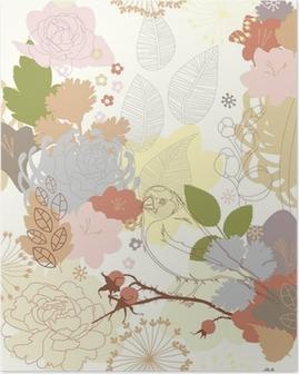 Poster Nahtlose Hintergrund mit abstrakten Ornament botanischen