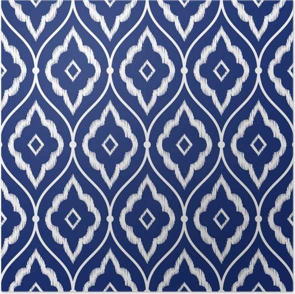 Poster Nahtlose Indigoblau Und Weiß Vintage Persian Ikat Muster