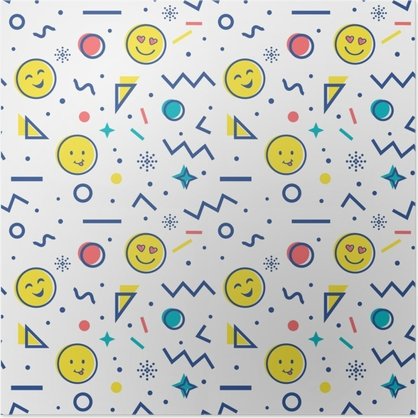 Poster Nahtlose Muster mit Emoji in Memphis-Stil. • Pixers® - Wir ...