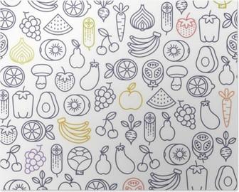Poster Nahtlose Muster mit Früchten und Gemüse Icons