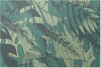 Poster Nahtlose Muster mit grün Hand gezeichneten tropischen Pflanzen