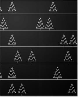 Poster Nahtlose Muster mit Tanne auf Hintergrund Bäume