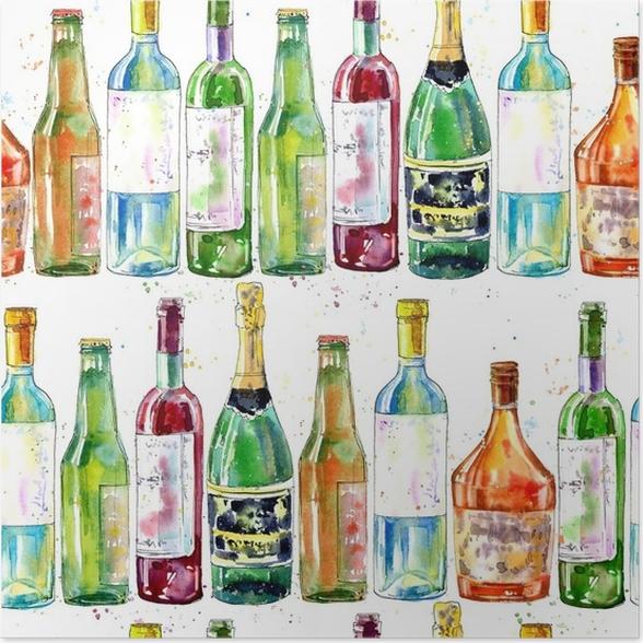 Poster Nahtlose Muster von Champagner, Cognac, Wein, Bier und Glas ...