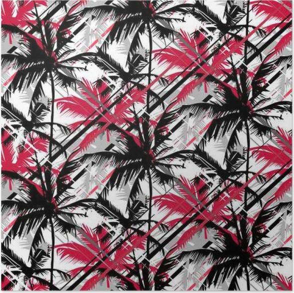 Poster Nahtlose Vektor monochrome tropischen Muster zeigt weiße ...