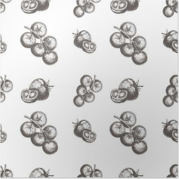 Poster Nahtlose Vektor-Muster mit Tomaten. Vektor-Illustration mit ...