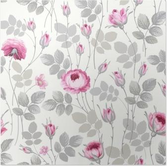 Poster Nahtloses Blumenmuster mit Rosen in Pastellfarben