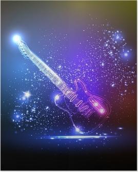 Poster Neonlicht Gitarre, Grunge-Musik