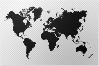 Poster Nero silhouette isolato World map file vettoriale EPS10.