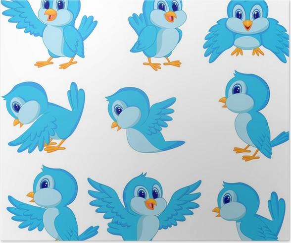 Poster Netter blauer Vogel-Cartoon • Pixers® - Wir leben, um zu ...