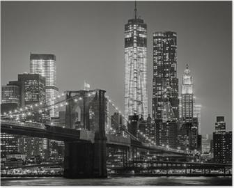 Poster New York by night. Ponte di Brooklyn, Lower Manhattan - un nero