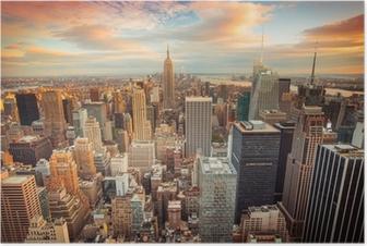 Poster New York City bei Sonnenuntergang mit Blick auf Manhattan