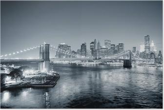 Poster New York City Manhattan downtown in bianco e nero
