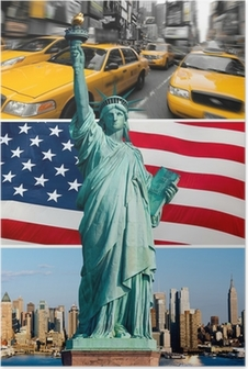 Poster New York, Statue de la Liberté, taxi, orizzonte