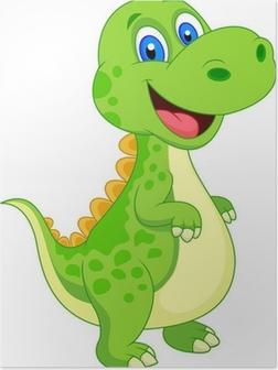 Poster Niedlich Dinosaurierkarikatur