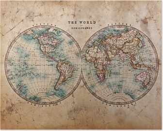 Poster Old World Map in Hemispheres