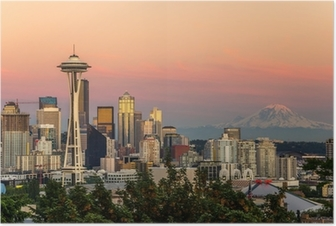 Poster Orizzonte di Seattle e il Monte Rainier at Sunset