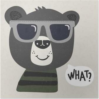 Poster Orso freddo fumetto con occhiali da sole