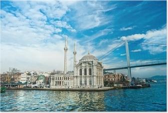 Poster Ortakoy moschea e ponte sul Bosforo, Istanbul, Turchia.