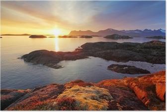 Poster Ozean Küste schönen Sonnenuntergang in Norwegen - Senja