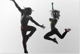 Poster Paar Mann und Frau, die Ausübung Fitness Zumba tanzen Silhouette