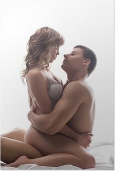 Poster Paare spielerisch Liebhaber sitzen im Bett - sexuelle Spiele