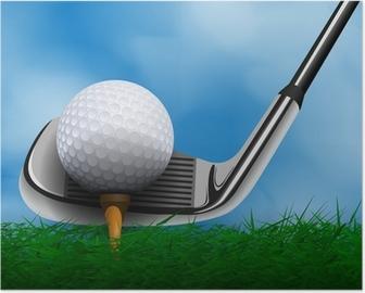 Poster Palla da golf e club a fronte di erba