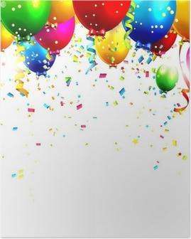 Poster Palloncini di compleanno colorati e coriandoli - sfondo vettoriale