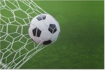 Poster Pallone da calcio in gol con backgroung verde