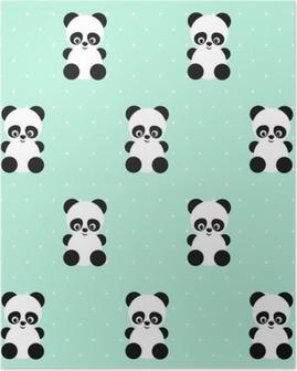 Poster Panda nahtlose Muster auf Tupfen grünen Hintergrund. Netter Entwurf für den Druck auf Baby Kleidung, Textilien, Tapeten, Stoff. Vector Hintergrund mit Baby Tier Panda lächelnd. Kinder Stil Abbildung.
