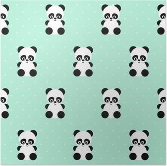 Poster Panda seamless su pois sfondo verde. design carino per la stampa sui vestiti del bambino, tessile, carta da parati, tessuti. Sfondo vettoriale con sorridente del panda animale bambino. Illustrazione di stile del bambino.