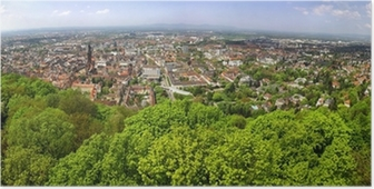 Poster Panorama-Blick von Freiburg im Breisgau Stadt, Deutschland