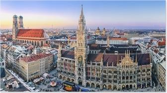 Poster Panorama München Innenstadt im Abendlicht
